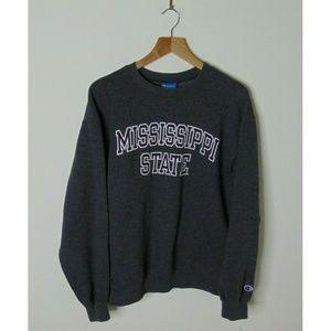 Champion M State Crewneck Sweatshirt Pullover Gray